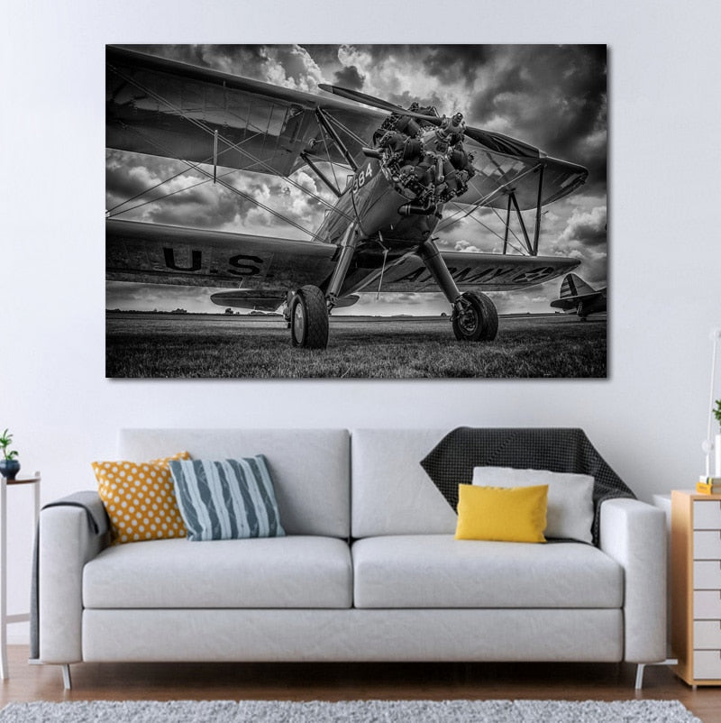 Airplane Plane B W Propeller HDR military QX052 living room home wall art decor Poster