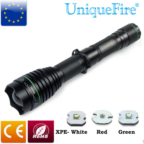 UniqueFire Aviation Aluminum Flashlight 3ModeUF-1508 Cree XPE Brass Pill(Green/Red/White)Light Focus Head Design Zoom Flashlight