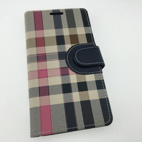 Plaid Leather Flip Wallet Case - Classic Anchor- Apple iPhone X