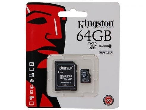 64 GB Micro SD Memory Card with Adapter (Class 4) - Kingston