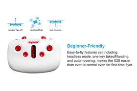 Tenergy Syma X20 Mini Drone, Headless Quadcopter RC Drone with Altitude Hold and Stunt Button
