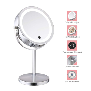 A LED makeup mirror with various functions