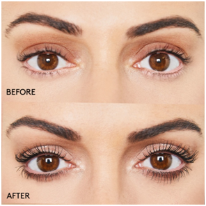 A before and after image of using mascara