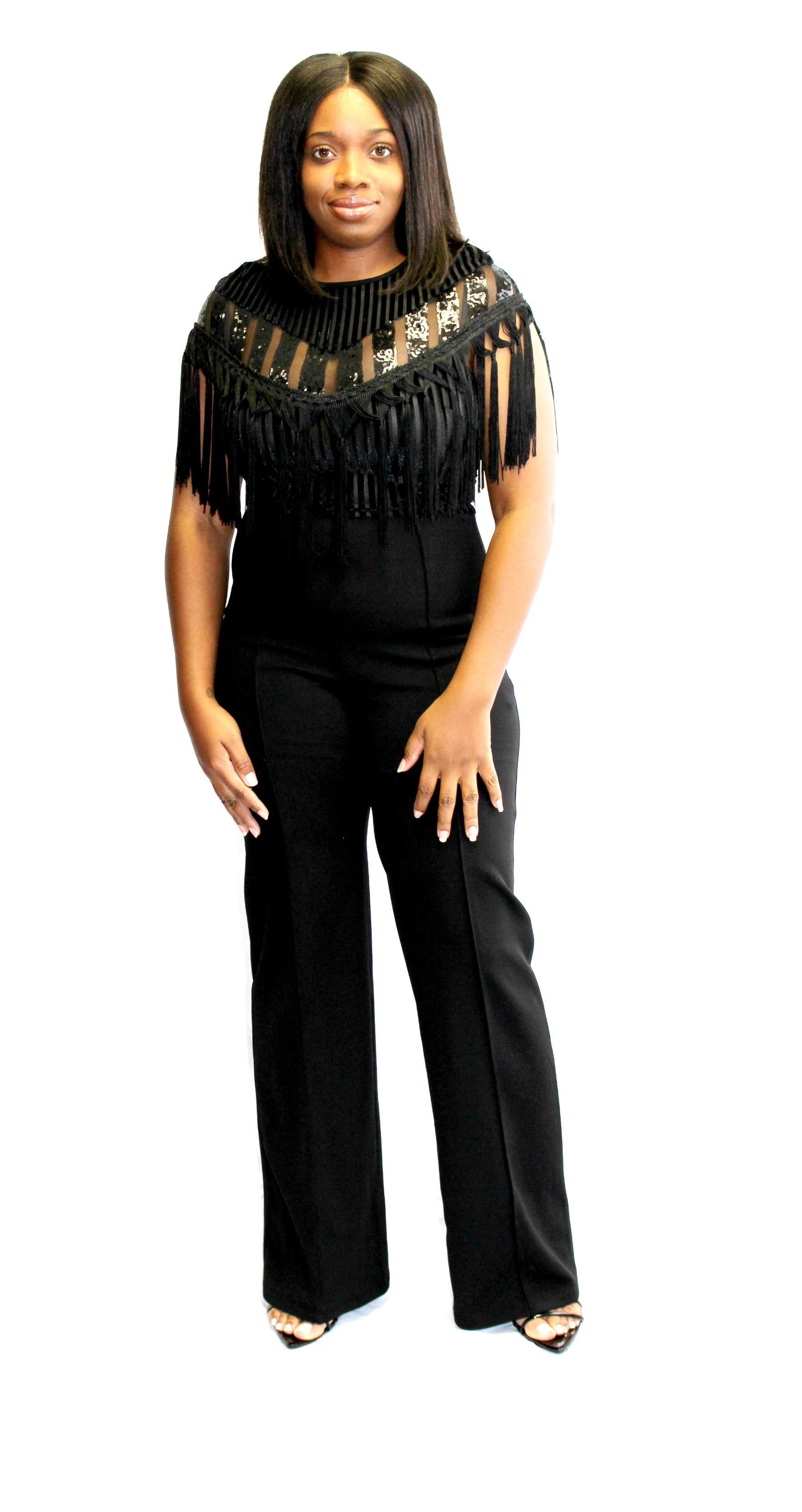 0806b5c594a1 Sequin and Fringe Jumpsuit (Black) – Twenty-Two Thirty-Four