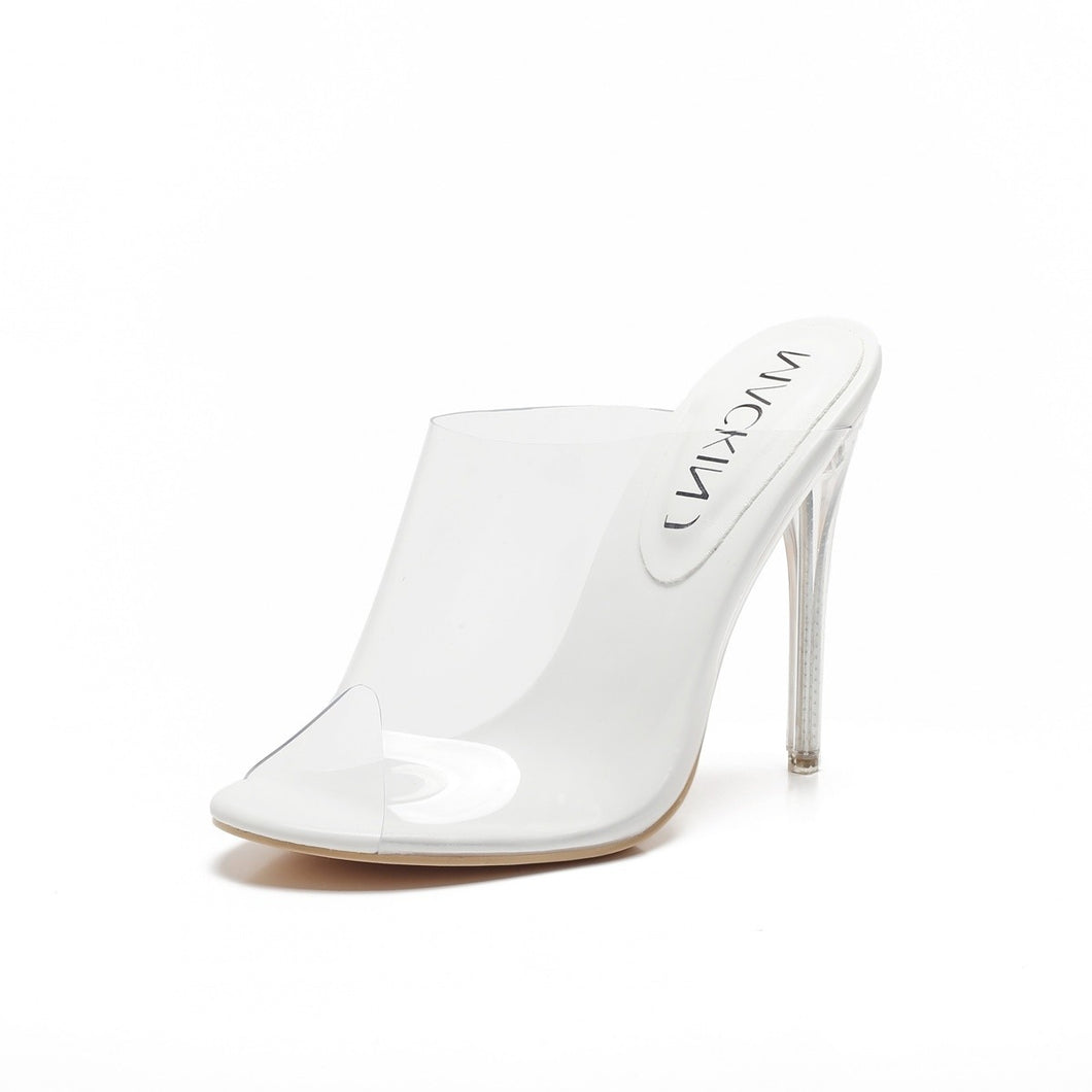 Open Toe Clear Perspex Mule In White