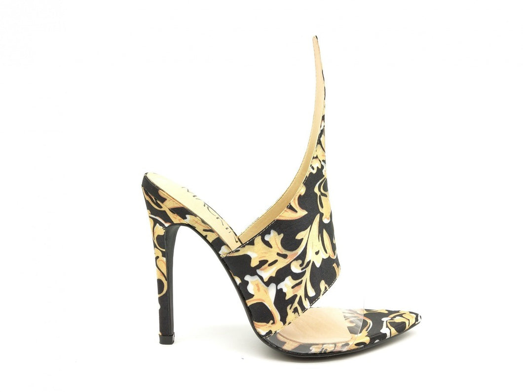 Open Toe Baroque Print Heel (Black and Gold)