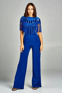 Sequin and Fringe Jumpsuit (Royal Blue)