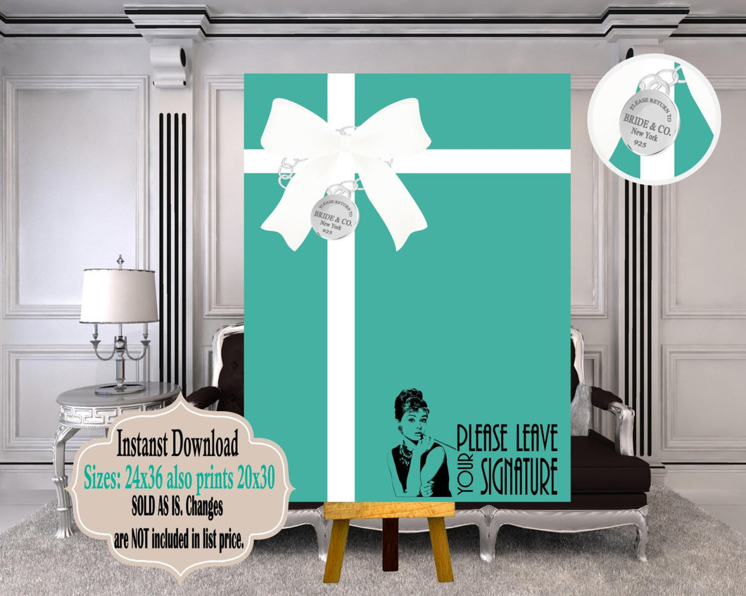 DIGITAL FILE Bride and CO Alternative Guest Book Prints as 24x36 or  20x30, Bride and Co Guestbook, Bride and Co Party Decor