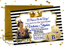 Load image into Gallery viewer, PRINTABLE Royal Baby Invitation, Royal Baby Shower Decor, A Prince is On It's Way, Royal Baby Invite