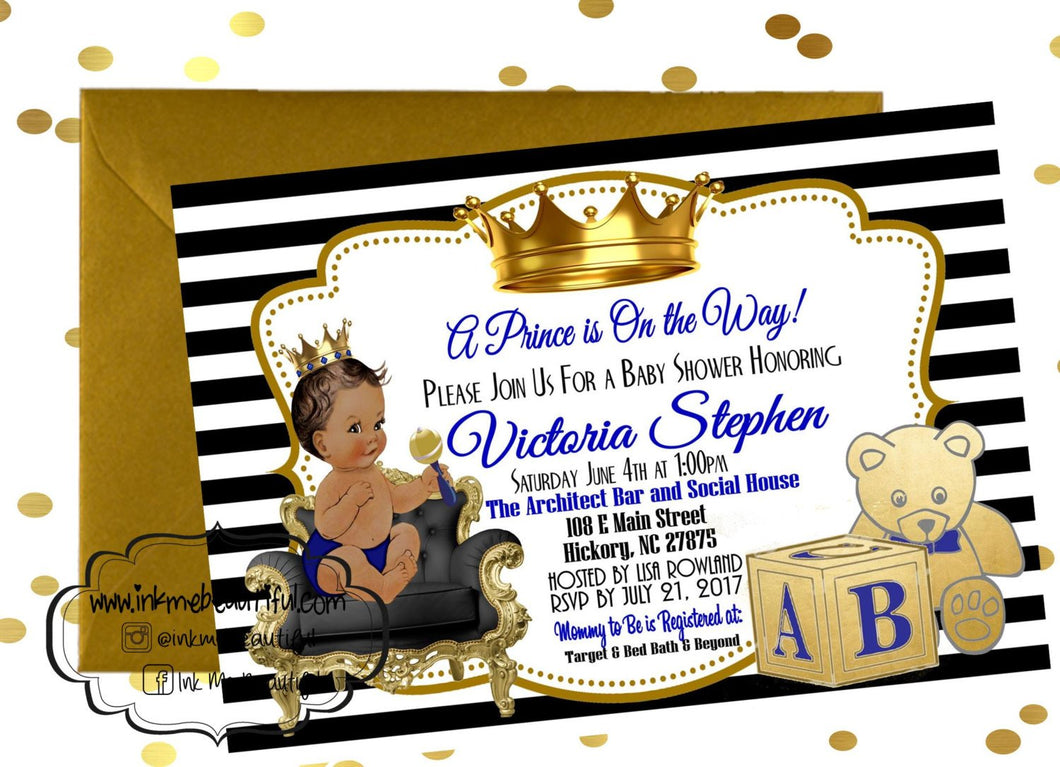 PRINTABLE Royal Baby Invitation, Royal Baby Shower Decor, A Prince is On It's Way, Royal Baby Invite