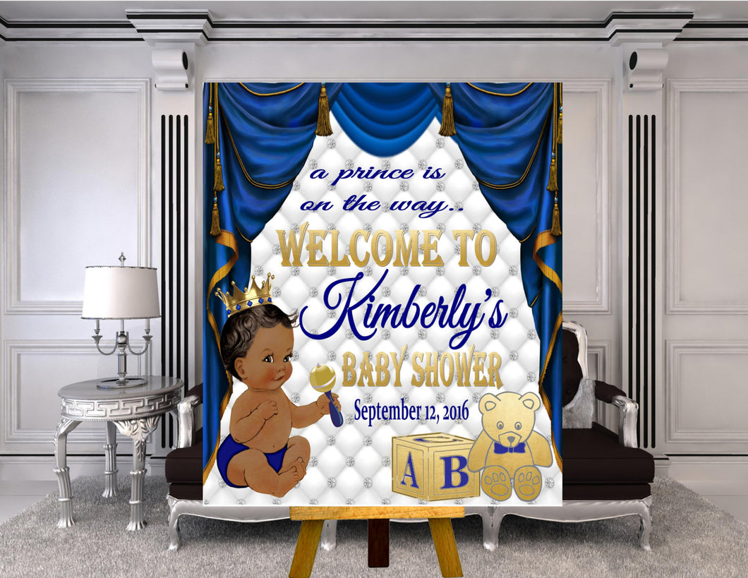 DIGITAL FILE Royal Baby Welcome Poster, Royal Baby Shower Decor, A Prince is On It's Way, Royal Blue, RB-005