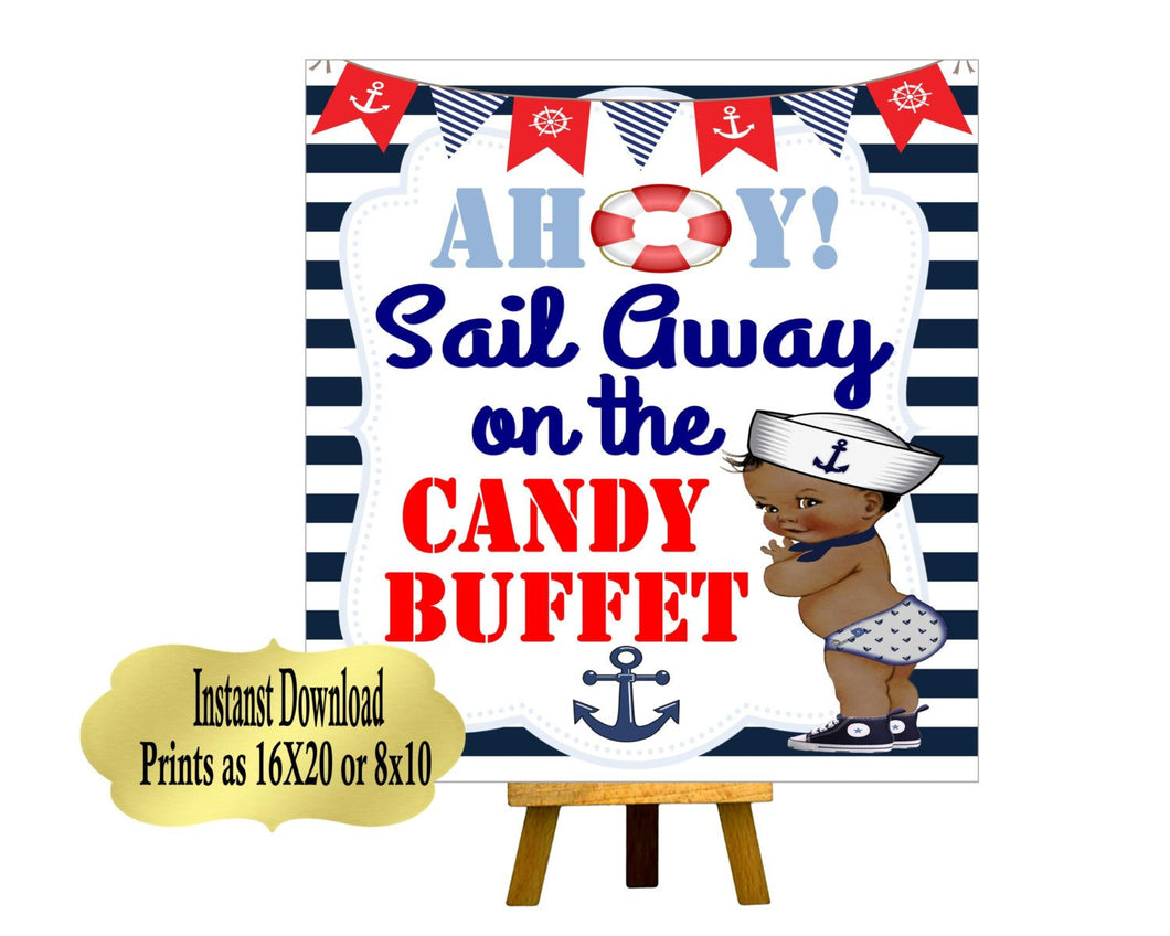 DIGITAL FILE Nautical Baby Shower, Candy Bar Sign,  Ahoy It's a Boy,  Babyshower, Bridal Shower, Welcome Sign