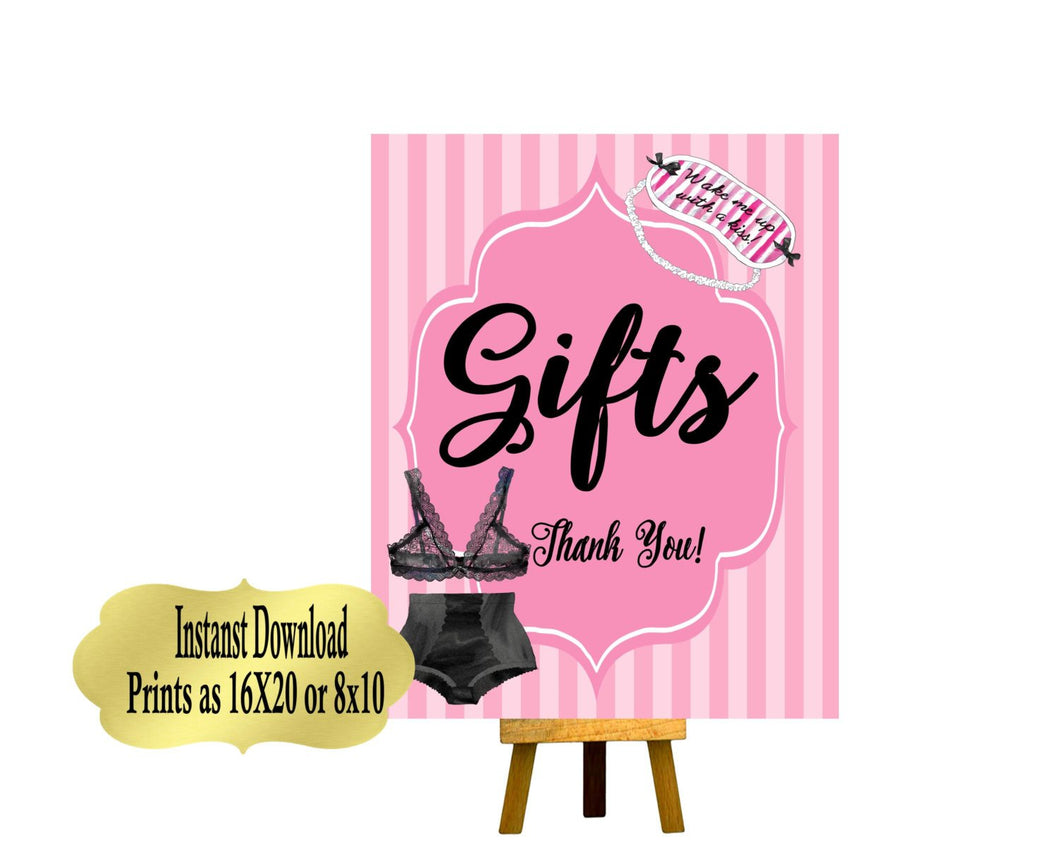 PRINTABLE Gift Table Sign, Lingerie Party, Lingerie Shower, Candy Table Sign, Pleasure Party, Lingerie Collection L001