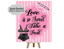 Load image into Gallery viewer, PRINTABLE Love is Sweet Take a Treat, Lingerie Party, Lingerie Shower, Candy Table Sign, Pleasure Party, Lingerie  Collection L001