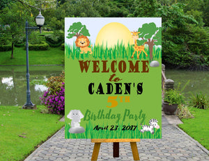 DIGITAL FILE**Birthday Welcome Poster, Birthday Door Sign, Jungle Theme Party, Jungle Baby Shower