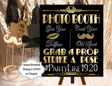 Load image into Gallery viewer, DIGITAL FILE  Photobooth Sign, Wedding Hashtag Gatsby party decoration*Roaring 20s Art deco*Wedding photobooth sign, Photobooth Prop