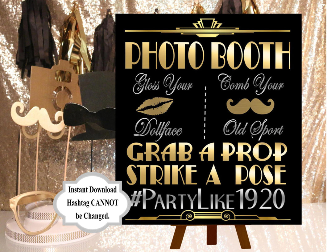 DIGITAL FILE  Photobooth Sign, Wedding Hashtag Gatsby party decoration*Roaring 20s Art deco*Wedding photobooth sign, Photobooth Prop