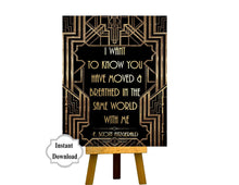 Load image into Gallery viewer, PRINTABLE | I Want to Know You Have Moved | Gatsby party decoration, Roaring 20s Art deco, Gatsby Quote, F. Scott Fitzgerald Quote