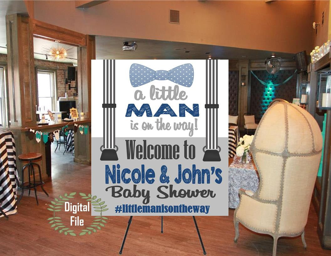 DIGITAL FILE A Little Man is On the Way Welcome Poster,  Babyshower, Babyshower Door Sign, Welcome Sign