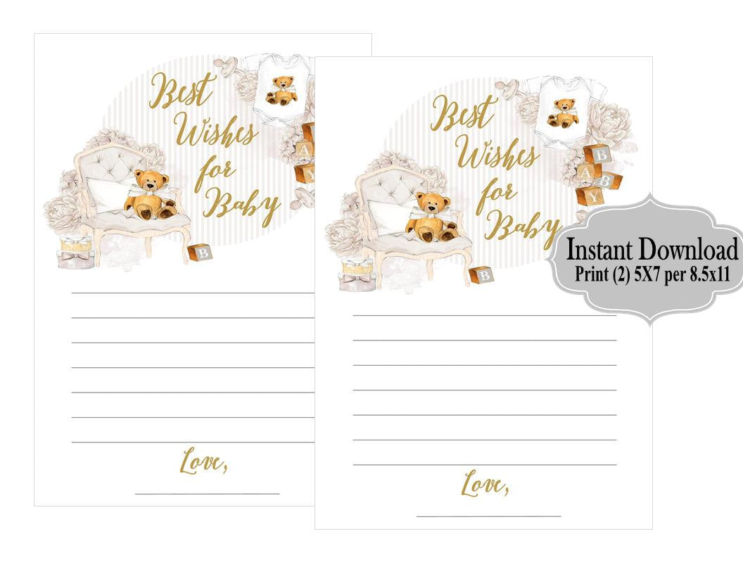 DIGITAL FILE Best Wishes for Baby Printable, Teddy Bear Baby Shower, Neutral Gender Shower, Advice for Mommy to Be Cards