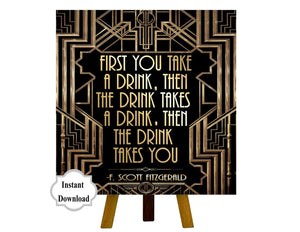 Roaring twenties party decoration. F. Scott Fitzgerald quote print. Great Gatsby party decor. Art deco poster. Gatsby wedding decor.