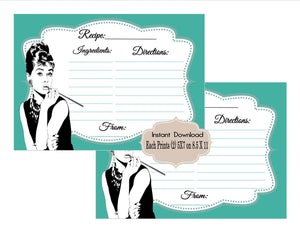 PRINTABLE Bridal Shower Digital Recipe Cards, Baby and Co,  Bride and Co, Advice Cards