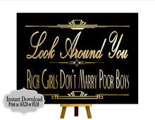 Load image into Gallery viewer, PRINTABLE Gatsby Quote ,Gatsby party decoration, Roaring 20s Art deco,Wedding Sign, Wedding Decor, Gatsby Quote, Gatsby Collection