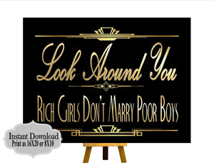 PRINTABLE Gatsby Quote ,Gatsby party decoration, Roaring 20s Art deco,Wedding Sign, Wedding Decor, Gatsby Quote, Gatsby Collection