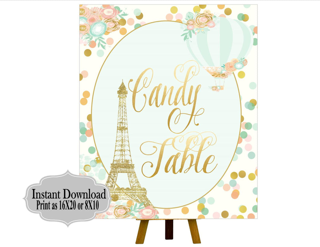 PRINTABLE Candy Table, Mint Green, Blush, Gold Birthday Party, First Birthday Party, Mint, Blush, Gold