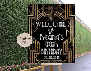 DIGITAL FILE Happy Birthday Gatsby party decoration*Roaring 20s Art deco*Wedding photobooth sign