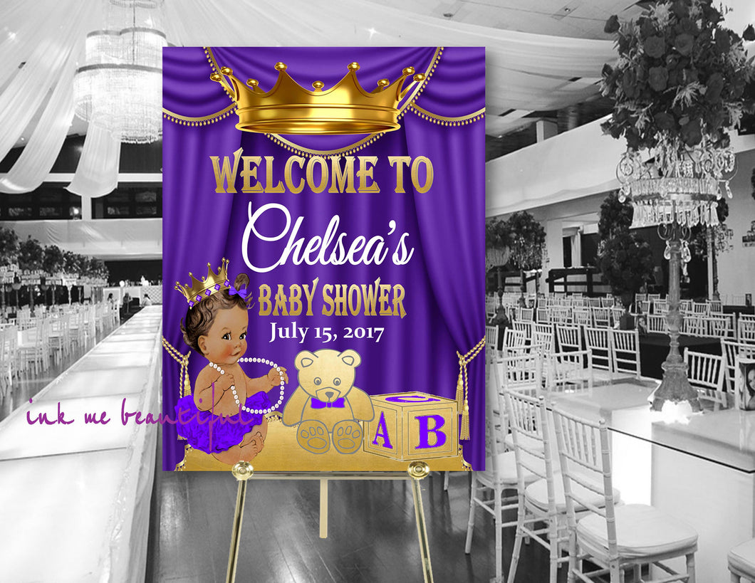 DIGITAL FILE Purple and Gold Royal Baby Welcome Poster,Princess Baby Shower,  Royal Baby Shower Decor, A Princess is On It's Way RP-009