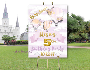 Hot Air Balloon Birthday, Up Up and Away Birthday,  First Birthday Party, Floral Birthday DIGITAL FILE, Purple, Gold, Lavendar