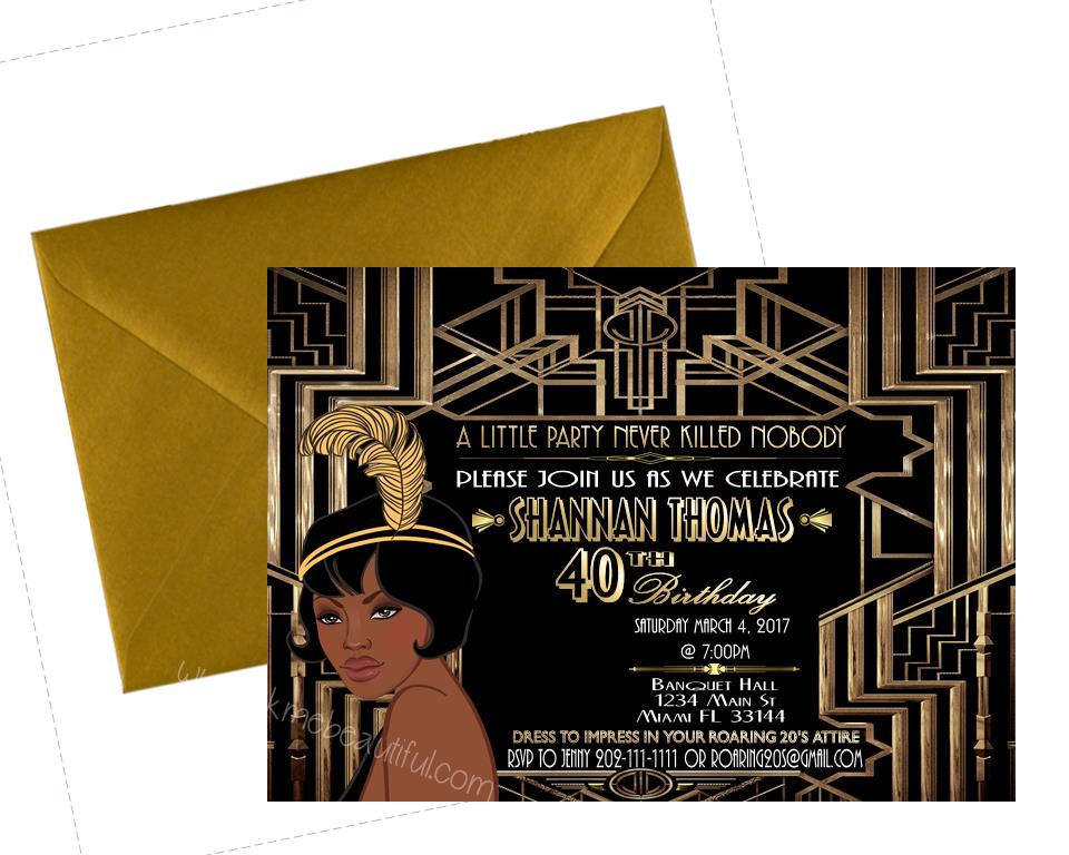 DIGITAL FILE, Gatsby Themed Wedding, Birthday Invitation, Great Gatsby party decor.   Flapper Invitation, Gatsby Invite, Harlem Nights