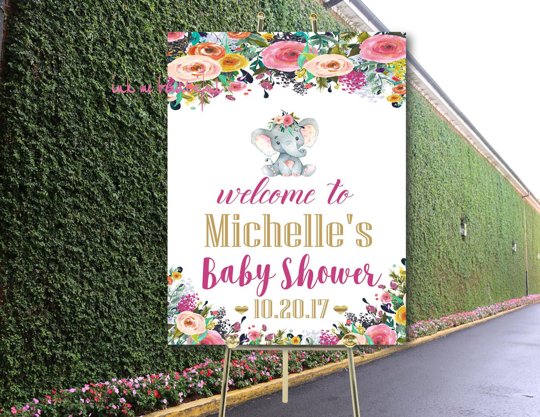 DIGITAL FILE  Welcome Baby Shower Poster, Floral Baby Shower Elephant