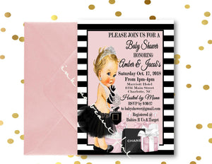 DIGITAL FILE Invitation, Babyshower, Bridal Shower,Parisian Baby Shower, Fashion Bridal Shower, Birthday, Couture Party, Paris Theme
