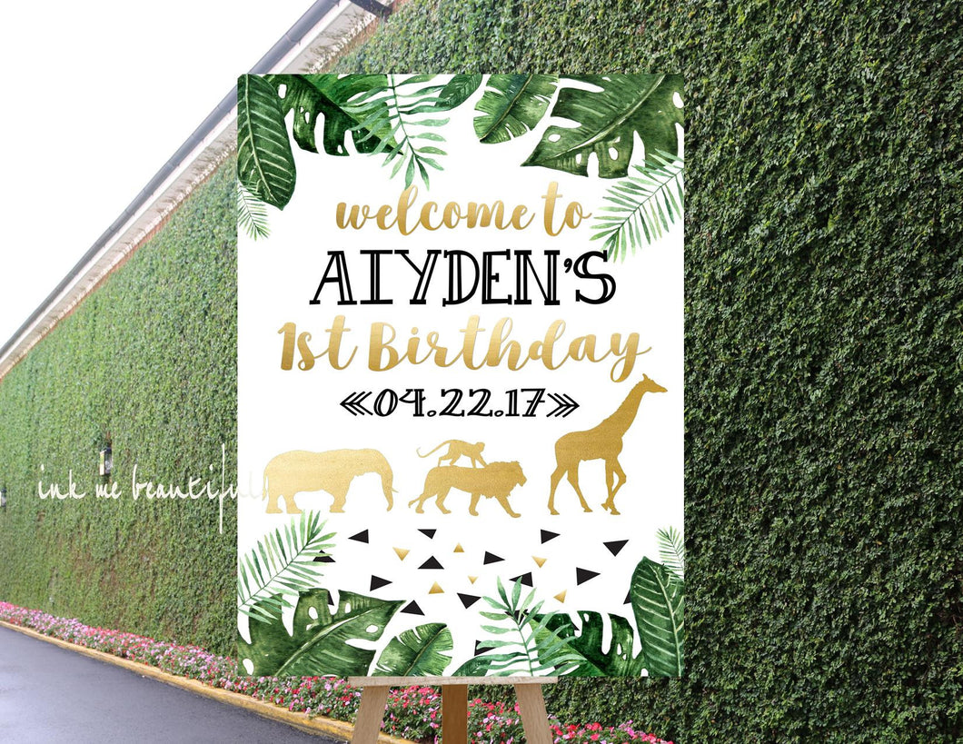 DIGITAL FILE Birthday Party, Baby Shower, Door Tag, Safari Animal Theme, Wild One Birthday Decor, Gold Safari Party, Safari SA-20
