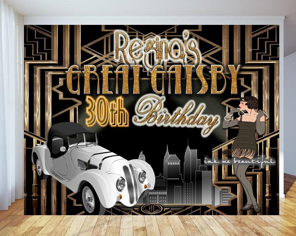 PRINTABLE Great Gatsby, Harlem Nights, Roaring 20s, A Little Party, Photo Backdrop, Candy Table Backdrop, Step and Repeat