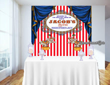 Load image into Gallery viewer, PRINTABLE Carnival Red and White, Circus Backdrop, Candy Table Backdrop, Photo Backdrop, Step and Repeat