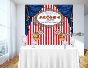 PRINTABLE Carnival Red and White, Circus Backdrop, Candy Table Backdrop, Photo Backdrop, Step and Repeat