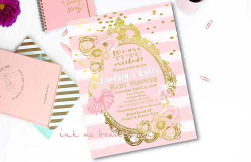 Ballerina Baby Shower Invitation, TuTu Baby, TuTu Cute, Pink and Gold Girl Baby Shower , DIGITAL FILE, Tutu Birthday Party, TU-002