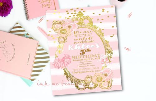 Ballerina Birthday Invitation, TuTu Baby, TuTu Cute, Pink and Gold Girl Baby Shower , DIGITAL FILE, Tutu Birthday Party, TU-002