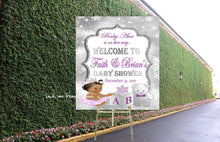 Load image into Gallery viewer, DIGITAL FILE Royal Purple Baby Welcome Poster,Princess Baby Shower,  Purple Lilac Silver, Snowflake, It's Cold Outside Lavendar
