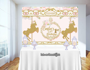 PRINTABLE Horse Carousel Theme, Carousel Baby Shower, Candy Table Backdrop, Photo Backdrop, Step and Repeat, Carousel Backdrop, Birthday