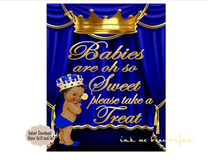 PRINTABLE Royal Baby Shower Babies are Sweet Take a Treat Sign 8x10 or 5x7, Royal Baby Shower Decor,  Royal Collection