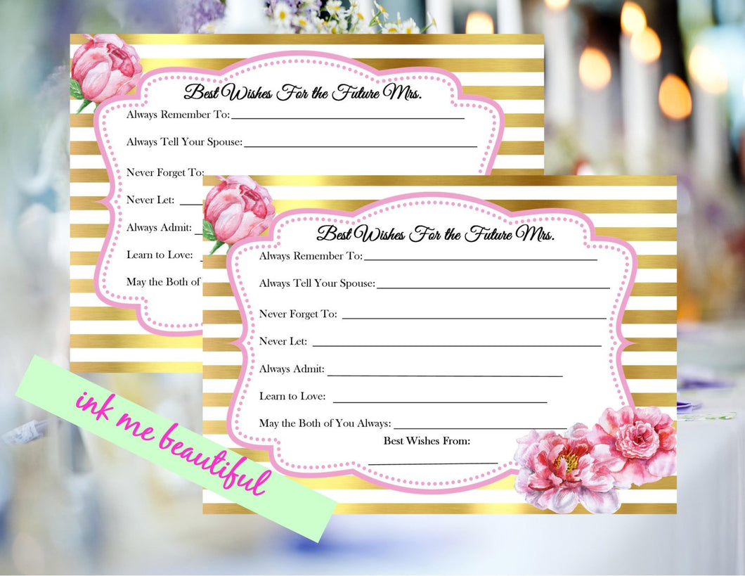 PRINTABLE Bridal Shower Digital Advice Cards, Best Wishes Wedding Sign, Guestbook Sign, Gold and Pink, Advice Cards, Vintage Wedding Decor