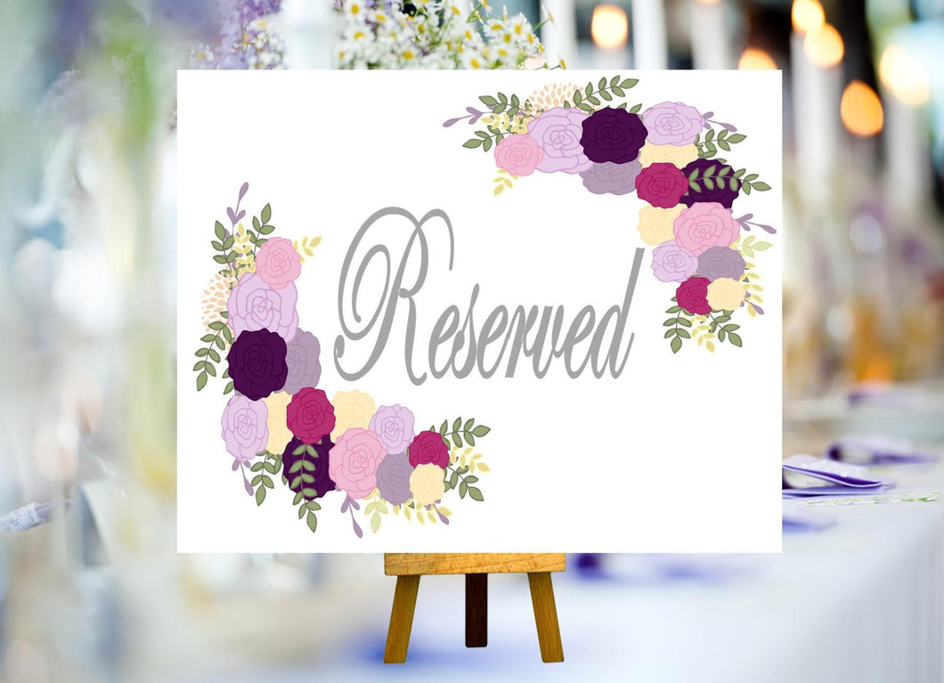 DIGITAL FILE **SALE** Wedding Reserved Sign, 8X10 Welcome Wedding Signs, Vintage Wedding Sign, Wedding Flower Sign Printable