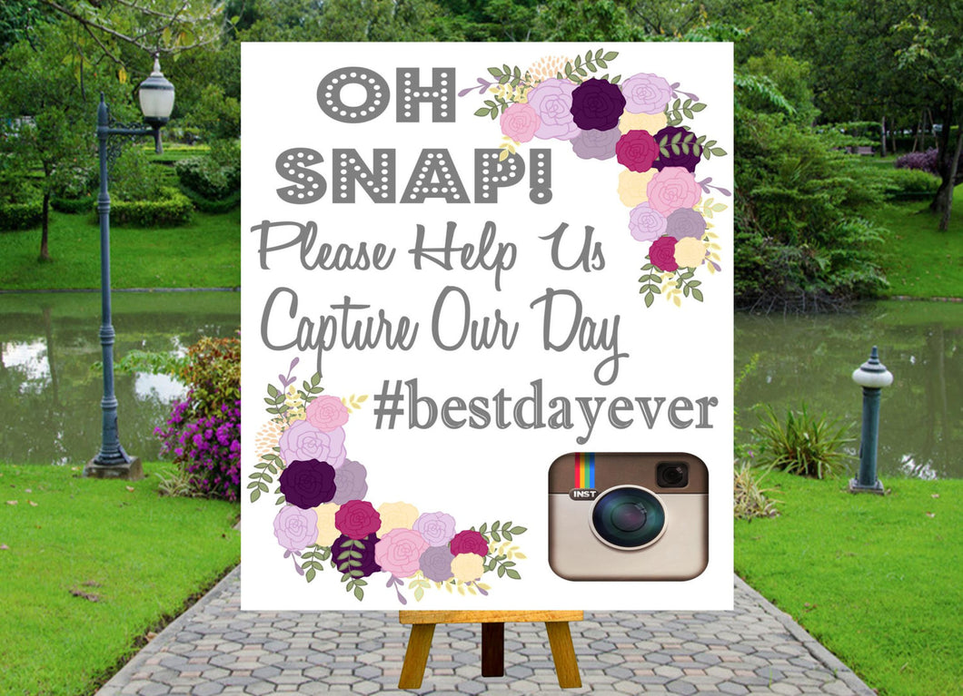 DIGITAL FILE Wedding Sign-Social Media Wedding- Wedding Hashtag - Printable Wedding Signs-Printable Sign-Printable, Purple Flowers