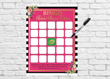 Load image into Gallery viewer, PRINTABLE Bridal Shower Games, Bridal Shower Bingo, Poster, Rustic Wedding Printable, Black and White Striped Wedding, Spades Shower KS001