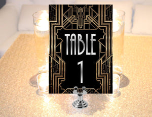 1-35 Printable table numbers, gold black and silver. Table numbers for Great Gatsby themed weddings. Roaring 20s party supplies for download