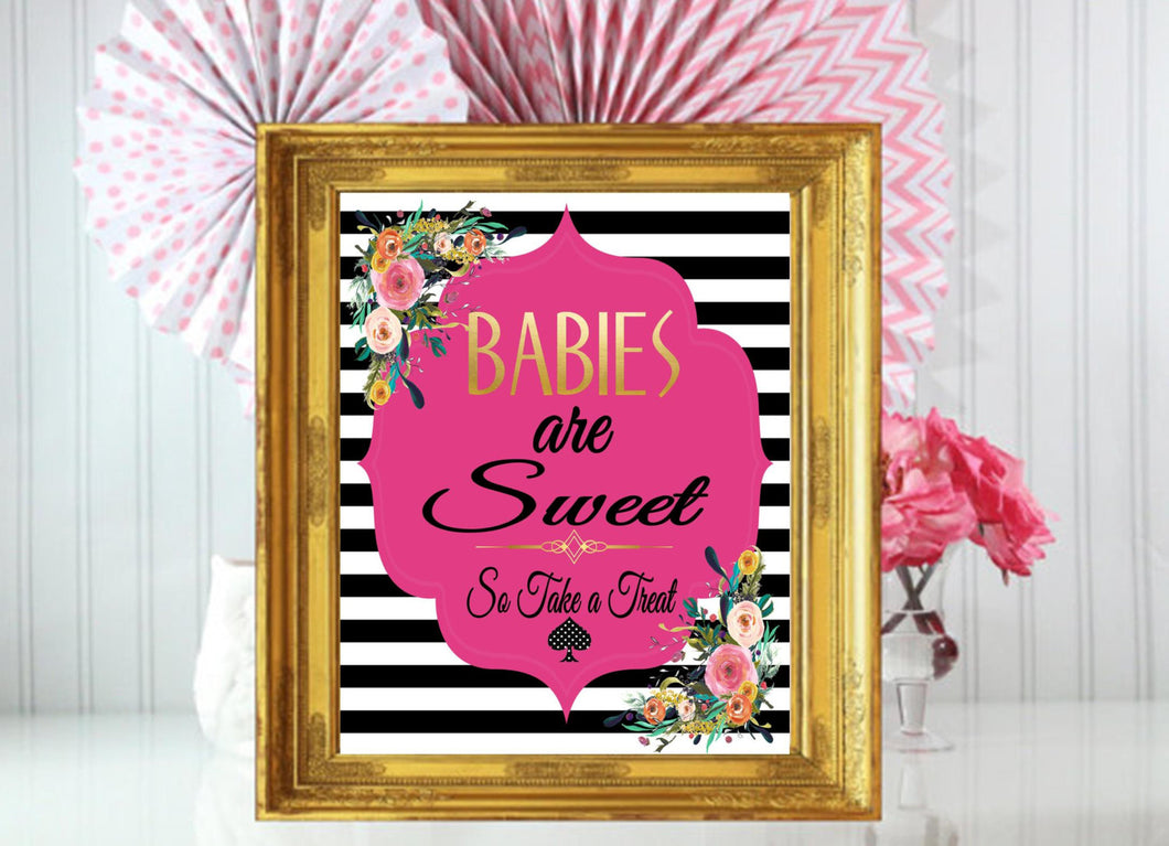 PRINTABLE Babies Are Sweet, Spade Shower, Black and White Striped Baby Shower, Spades Shower, Baby Shower Printables,